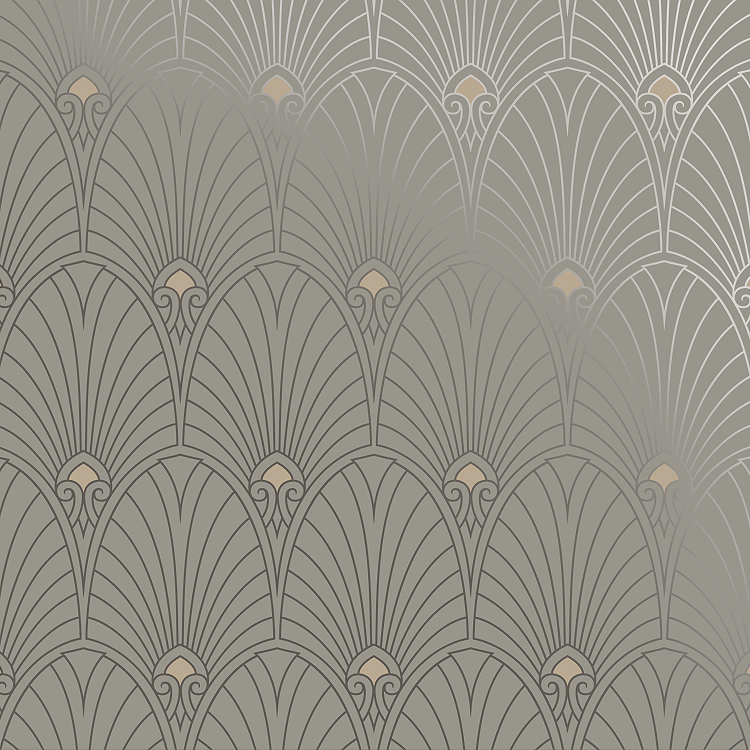 Bradbury Art Deco Designs Havana Retro Wallpaper In Pewter