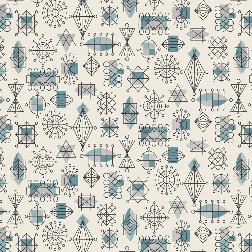 1940s reproduction atomic blue wallpaper