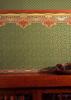 craftsman style design forest green wallpaper bradbury