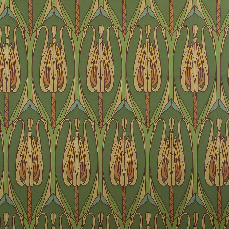 arts and crafts style floral wallpaper in forest green