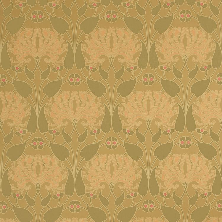 Bradbury Craftsman Style Floral Wallpaper Honeysuckle