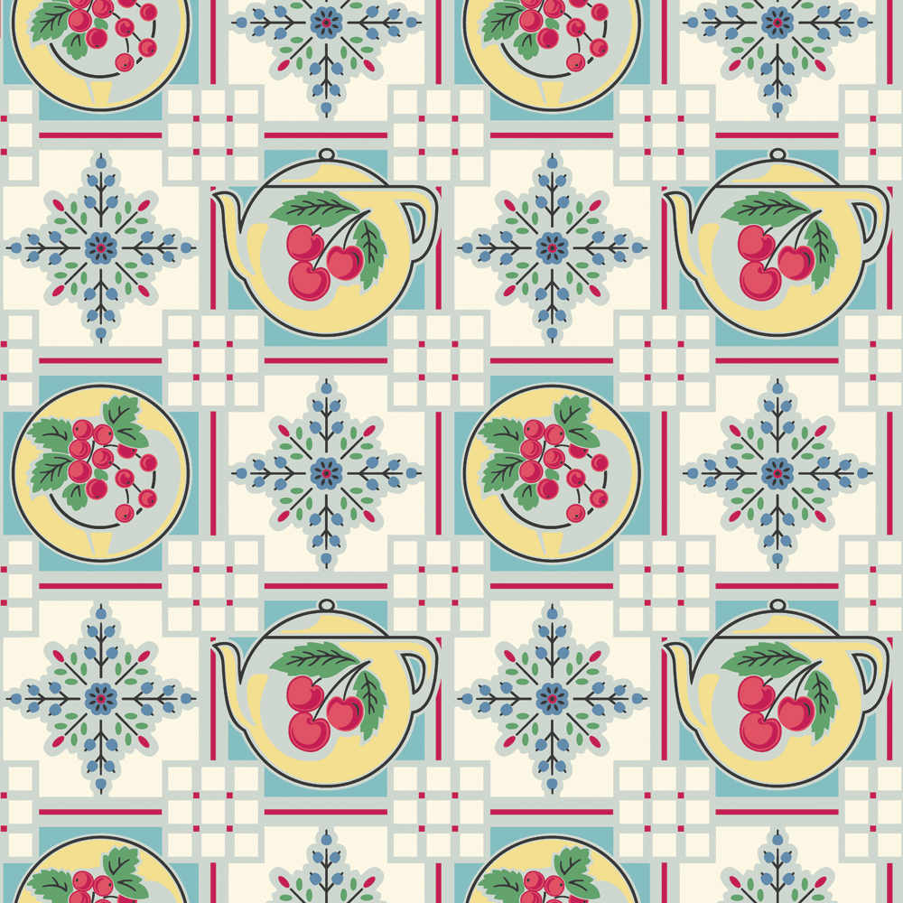 1940s Retro Kitchen Wallpaper