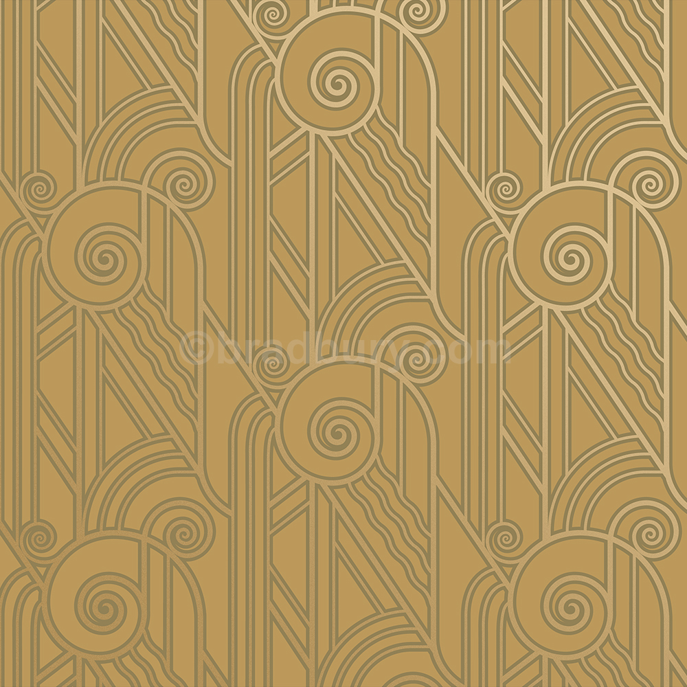Bradbury Art Deco Designs Volute Retro Wallpaper In Old Gold